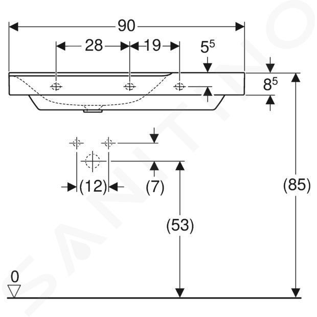 Geberit Xeno 2 - Wastafel 900x480 mm, bez otvoru pro baterii, zonder overloop, met bijzetplank rechts, KeraTect, wit 500.534.01.1