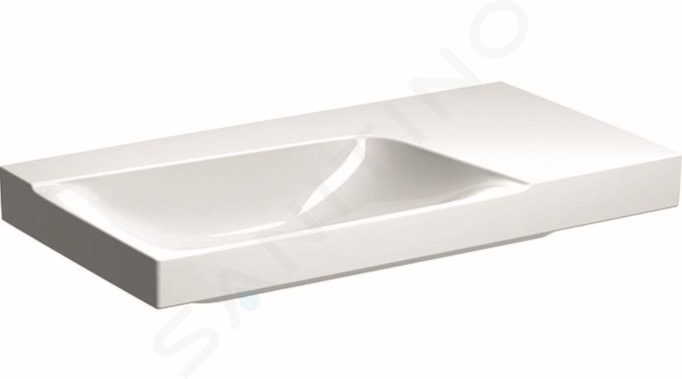 Geberit Xeno 2 - Lavabo 900x480 mm, sans trou, sans trop-plein, avec plage de dépose à droite, avec KeraTect, blanc 500.534.01.1