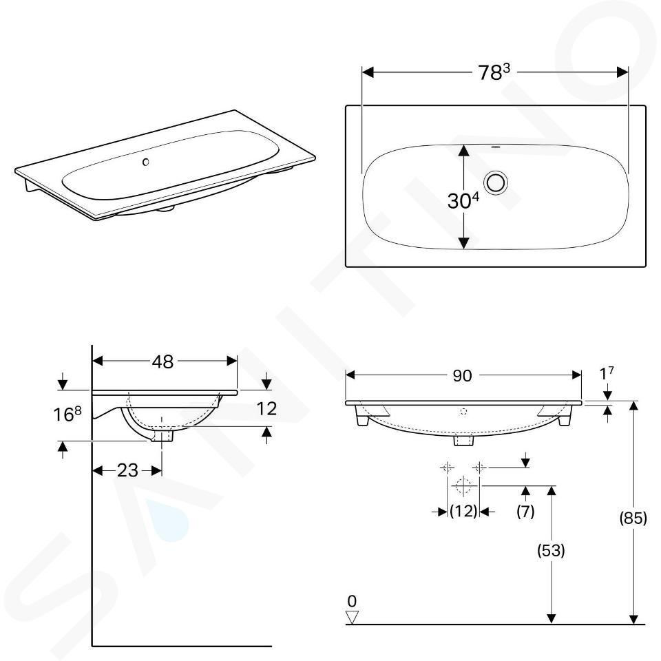 Geberit Acanto - Waschtisch 900x480 mm, ohne Hahnloch, mit Überlauf, mit KeraTect, weiß 500.643.01.8