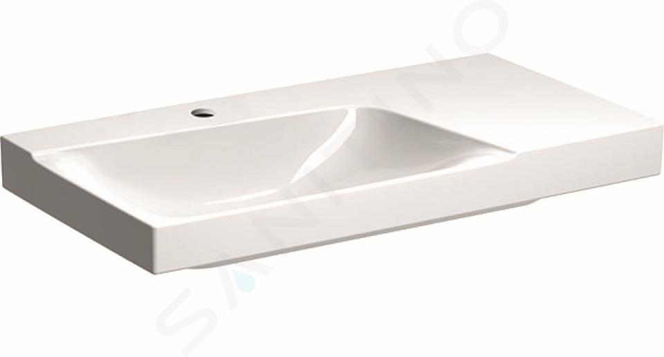 Geberit Xeno 2 - Lavabo 900x480 mm, avec 1 trou, sans trop-plein, avec plage de dépose à droite, avec KeraTect, blanc 500.533.01.1