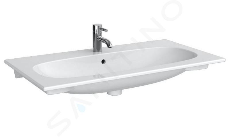 Geberit Acanto - Wastafel 900x480 mm, met kraangat en overloop, KeraTect, wit 500.642.01.8
