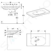 Geberit Acanto - Lavabo 900x482 mm, senza foro per miscelatore, con troppopieno, bianco 500.624.01.2