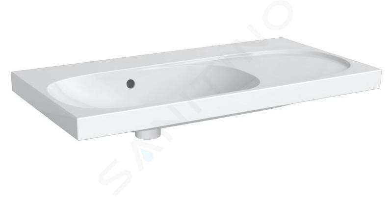 Geberit Acanto - Wastafel 900x482 mm, zonder kraangat, met overloop, met bijzetplank rechts, wit 500.626.01.2