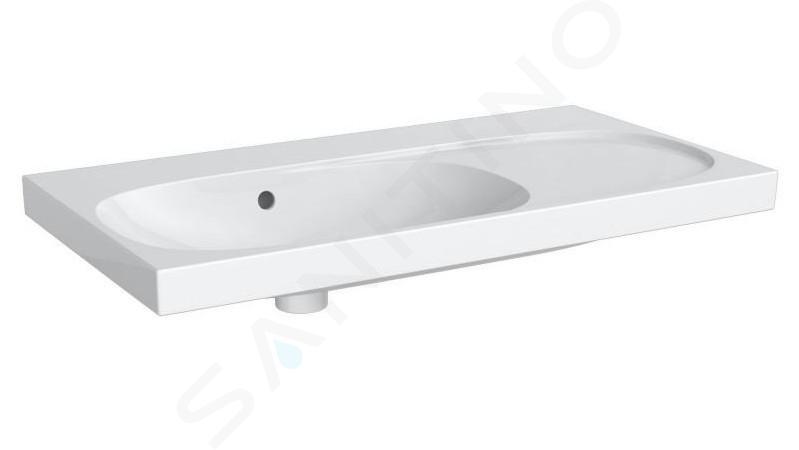 Geberit Acanto - Lavabo 900x482 mm, sans trou, avec trop-plein, avec plage de dépose à droite, avec KeraTect, blanc 500.626.01.8