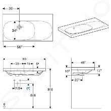Geberit Acanto - Wastafel 900x482 mm, zonder kraangat, met overloop, met bijzetplank rechts, KeraTect, wit 500.626.01.8