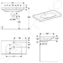 Geberit Acanto - Waschtisch 900x482 mm, mit Hahnloch und Überlauf, mit KeraTect, weiß 500.623.01.8