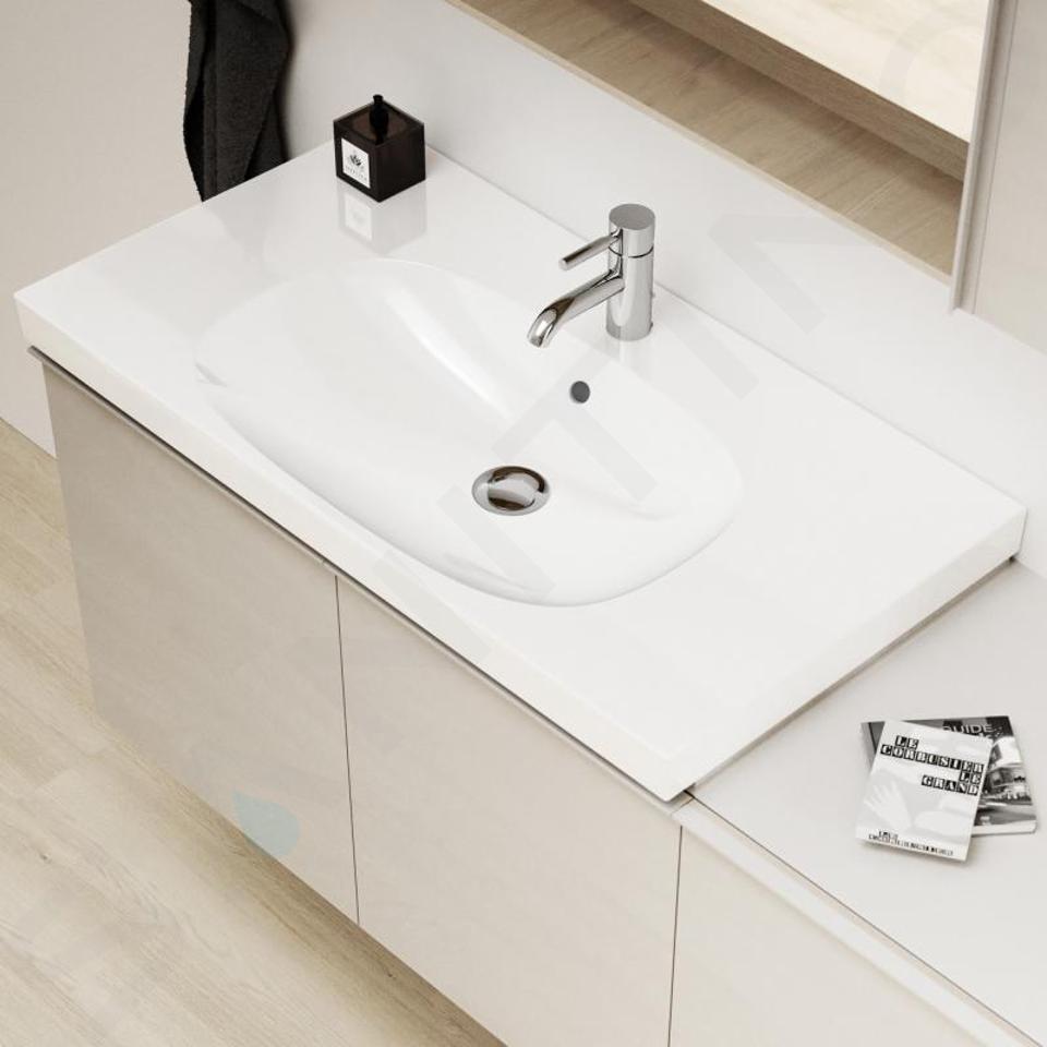 Geberit Acanto - Wastafel 900x482 mm, met kraangat en overloop, KeraTect, wit 500.623.01.8