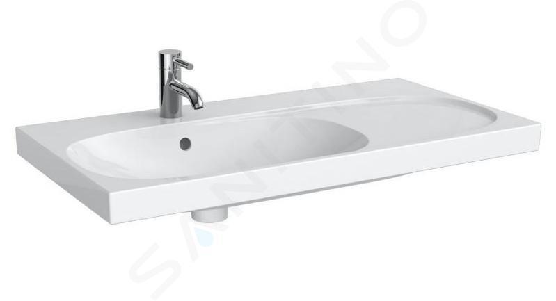 Geberit Acanto - Waschtisch 900x482 mm, mit Hahnloch und Überlauf, mit Ablagefläche rechts, weiß 500.625.01.2