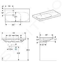 Geberit Acanto - Wastafel 900x482 mm, met kraangat en overloop, met bijzetplank rechts, KeraTect, wit 500.625.01.8