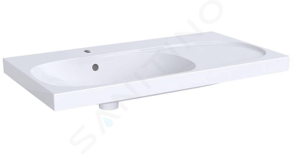 Geberit Acanto - Waschtisch 900x482 mm, mit Hahnloch und Überlauf, mit Ablagefläche rechts, mit KeraTect, weiß 500.625.01.8