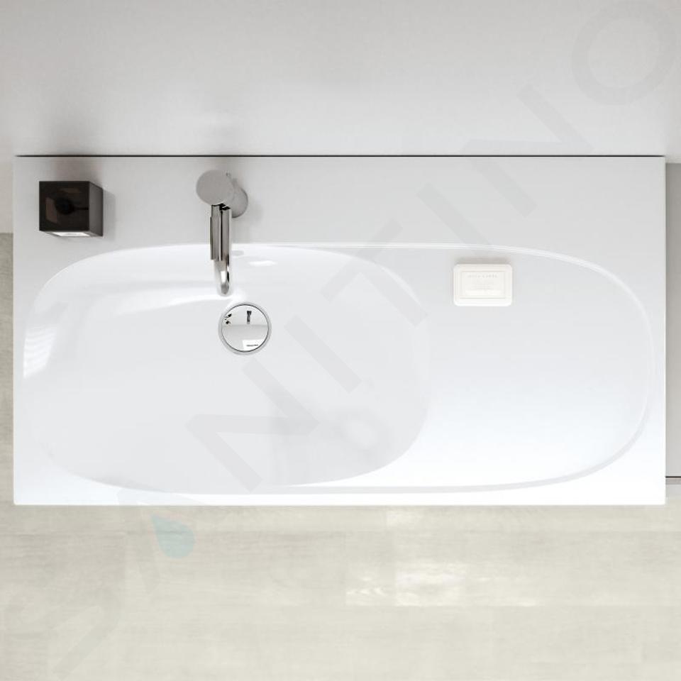Geberit Acanto - Lavabo 900x482 mm, avec 1 trou, avec trop-plein avec plage de dépose à droite, avec KeraTect, blanc 500.625.01.8