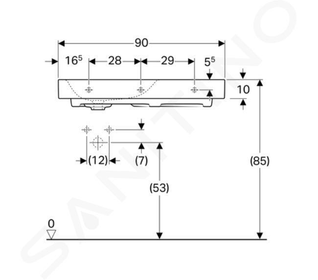Geberit Citterio - Wastafel 900x500 mm, kraangat links, zonder overloop, met bijzetplank rechts, KeraTect, wit 500.548.01.1