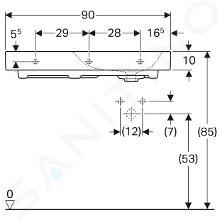 Geberit Citterio - Lavabo 900x500 mm,  avec 1 trou à droite, avec plage de dépose à gauche, avec KeraTect, blanc 500.549.01.1