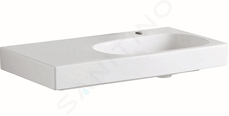 Geberit Citterio - Waschtisch 900x500 mm, mit Hahnloch rechts, ohne Überlauf, mit Ablagefläche links, mit KeraTect, weiß 500.549.01.1