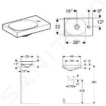 Geberit Acanto - Lavamani 400x250 mm, foro per miscelatore a destra, senza troppopieno, con KeraTect, bianco 500.635.01.8