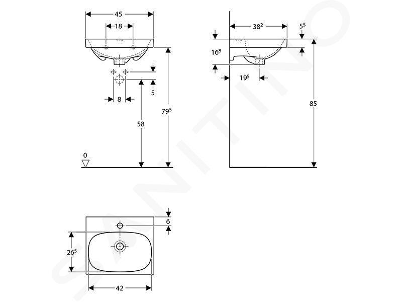 Geberit Acanto - Fontein 450x380 mm, met kraangat en overloop, KeraTect, wit 500.636.01.8