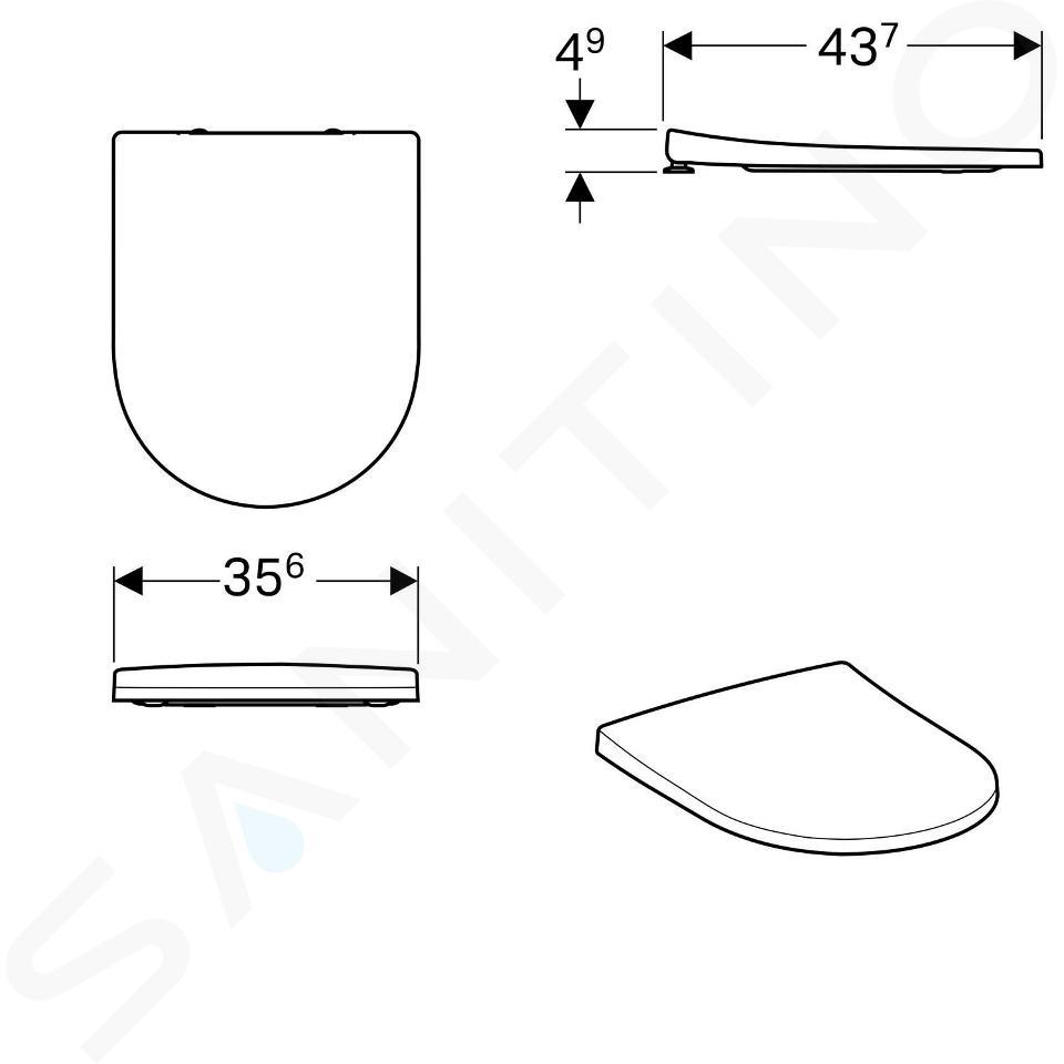 Geberit Acanto - WC-Sitz, Duroplast, Softclose, weiß 500.605.01.2
