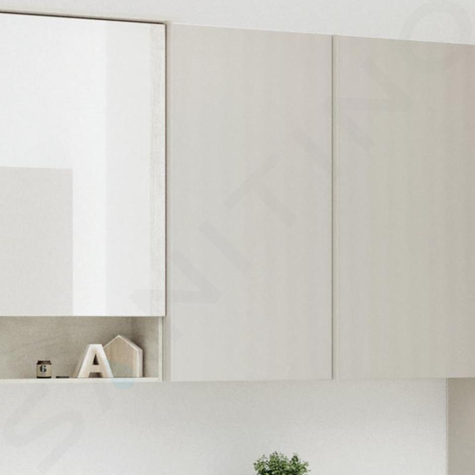 Geberit Acanto - Hängeschrank 450x820 mm, mit Spiegel an Türinnenseite, sandgrau 500.639.JL.2