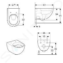 Geberit Acanto - WC suspendu, Rimfree, blanc 500.600.01.2