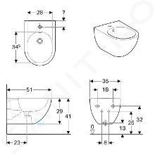 Geberit Acanto - Bidet suspendu 510x350x290 mm, blanc 500.601.01.2