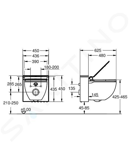 Grohe Sensia IGS - WC japonais suspendu, blanc alpin/chrome mat/rouge 39111LD0