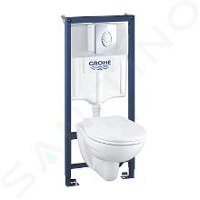 Grohe Solido - Ensemble pour WC suspendu + cuvette et abattant softclose Bau Ceramic, Plaque de déclenchement Skate Air, chrome 39192000
