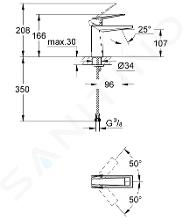 Grohe Allure Brilliant - Miscelatore per lavabo, con sistema di scarico, Hard Graphite spazzolata 23033AL0