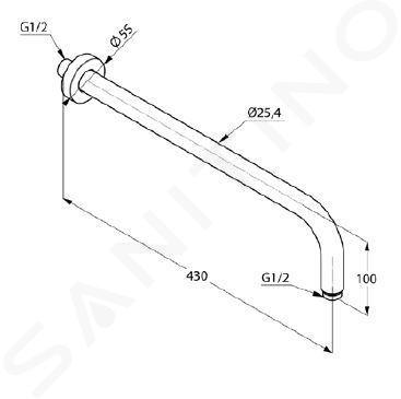 Kludi A-Qa - Braccio doccia 400 mm, nero opaco/cromo 6651487-00