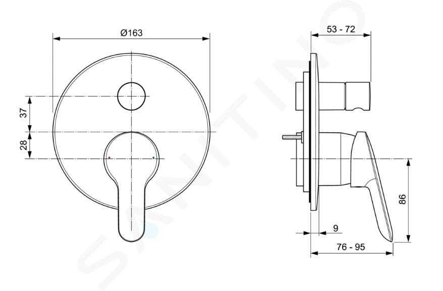 Ideal Standard Alpha - Mitigeur de baignoire encastré, chrome A7187AA
