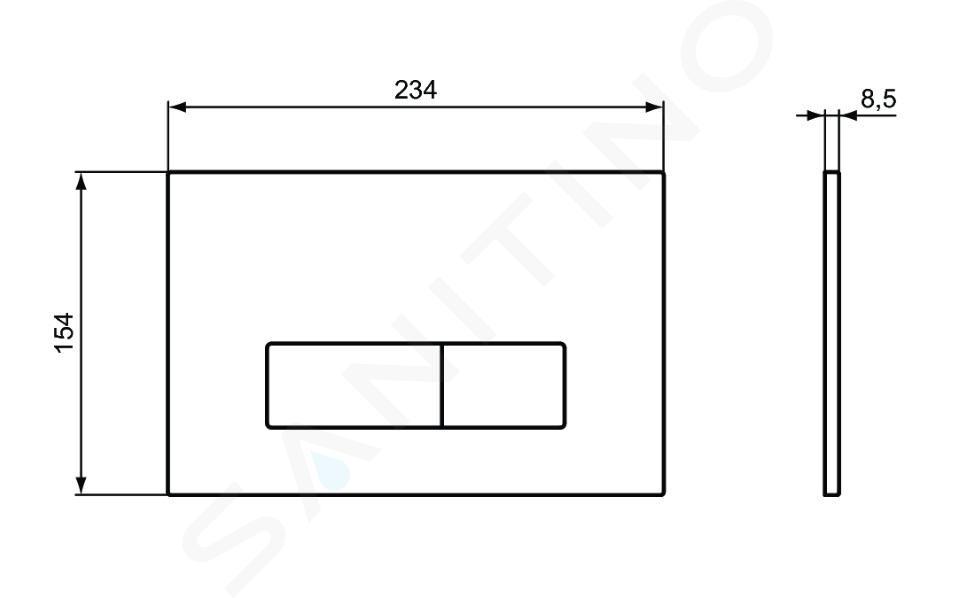 Ideal Standard Oleas - Betätigungsplatte Oleas M2, SmartFlush, chrom matt R0122JG