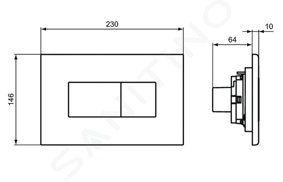 Ideal Standard Solea - Betätigungsplatte Solea P2, chrom matt R0110JG