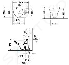 Duravit DuraStyle Basic - WC a terra, scarico inferiore, Rimless, con HygieneGlaze, bianco alpino 2184012000