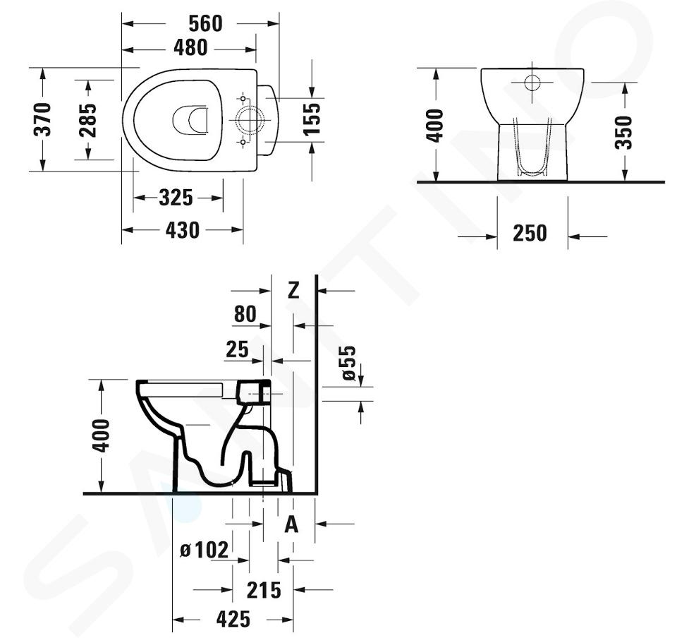 Duravit DuraStyle Basic - Stand-WC, Abgang senkrecht, Rimless, mit WonderGliss, Alpinweiß 21840100001
