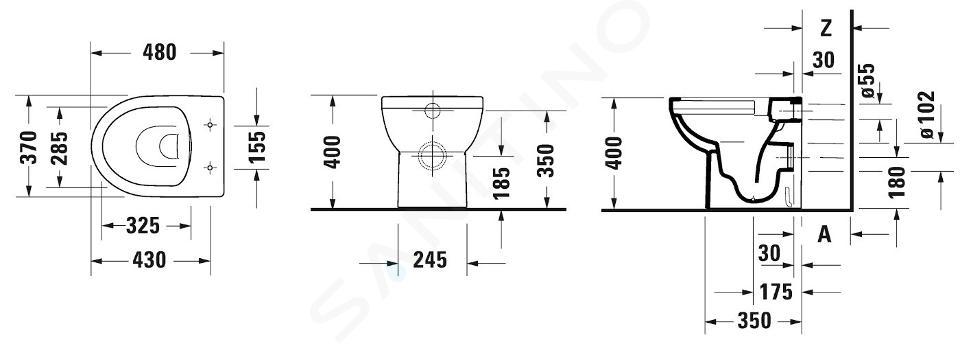 Duravit DuraStyle Basic - Stand-WC, Abgang waagerecht, Rimless, mit WonderGliss, Alpinweiß 21840900001