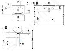 Duravit DuraStyle - Lavabo Compact, 550x400 mm, con 1 foro per miscelatore, con WonderGliss, bianco alpino 23375500001