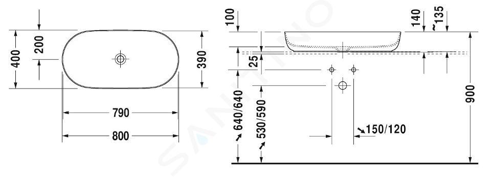 Duravit Luv - Lavabo da appoggio, 800x400 mm, DuraCeram, con WonderGliss, bianco alpino 03798000001