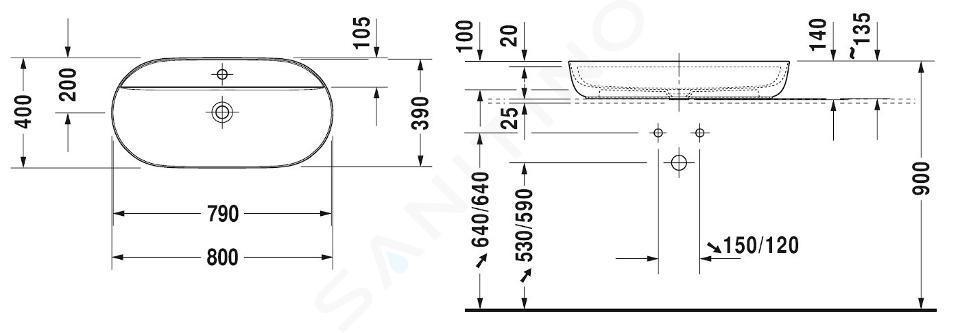 Duravit Luv - Waskom, 800x400 mm, met 1 kraangat, DuraCeram, met WonderGliss, alpine wit 03808000001