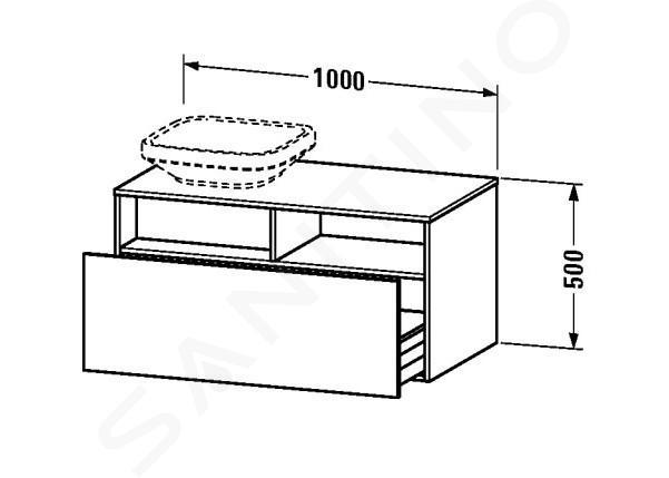 Duravit DuraStyle - Waschtischunterschrank 500x1000x550 mm, links, weiß glänzend DS6784L2222