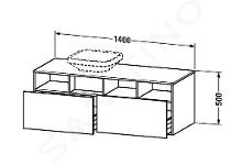 Duravit DuraStyle - Wastafelonderkast 500x1400x550 mm, links, 2 laden, glanzend wit DS6785L2222