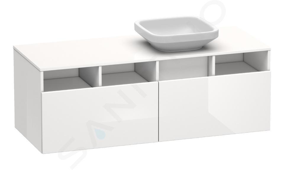 Duravit DuraStyle - Meuble sous lavabo 500x1400x550 mm, version droite, 2 tiroirs, blanc brillant DS6785R2222