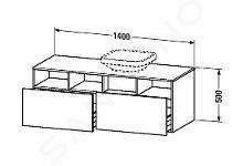 Duravit DuraStyle - Wastafelonderkast 500x1400x550 mm, rechts, 2 laden, glanzend wit DS6785R2222