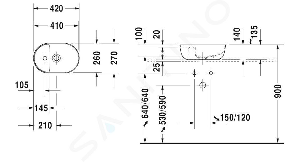 Duravit Luv - Hand-Aufsatzwaschtisch 420x270 mm, mit variablem Hahnloch, DuraCeram, mit WonderGliss, Alpinweiß 03814200001