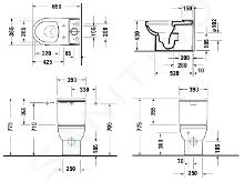 Duravit DuraStyle Basic - Staande toiletpot, Vario afvoer, Rimless, met WonderGliss, alpine wit 21820900001