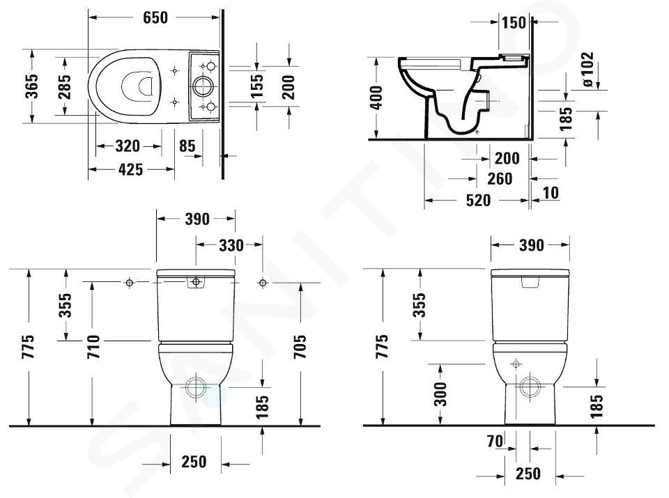 Duravit DuraStyle Basic - Stand-WC-Kombination, Abgang Vario, Rimless, mit WonderGliss, Alpinweiß 21820900001