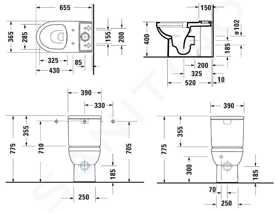 Duravit DuraStyle Basic - Stand-WC-Kombination, Abgang waagerecht, Rimless, mit WonderGliss, Alpinweiß 21830900001