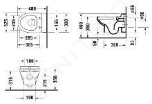 Duravit DuraStyle Basic - WC sospeso per bambini, Rimless, bianco alpino 2574090000
