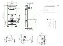 Ideal Standard ProSys - Set con modulo di installazione, vaso e copriwater Tesi, placca di comando Oleas M2, Aquablade, SoftClose, bianco ProSys120M SP1