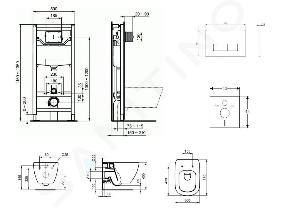 Ideal Standard ProSys - Set - Vorwandelement, Klosett und WC-Sitz Tesi, Betätigungsplatte Oleas M2, Aquablade, SoftClose, weiß ProSys120M SP1