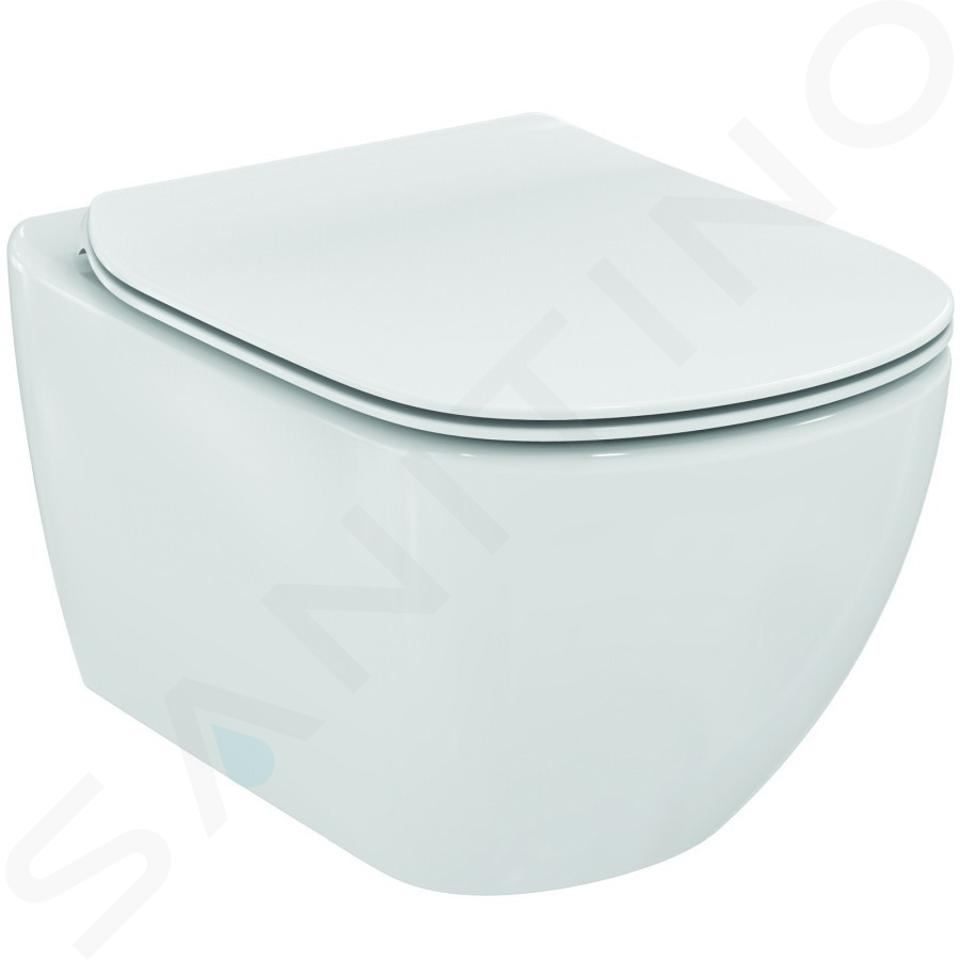 Ideal Standard ProSys - Ensemble pour WC suspendu, cuvette et abattant Tesi, Plaque de déclenchement Oleas M2, Aquablade, SoftClose, blanc ProSys120M SP1