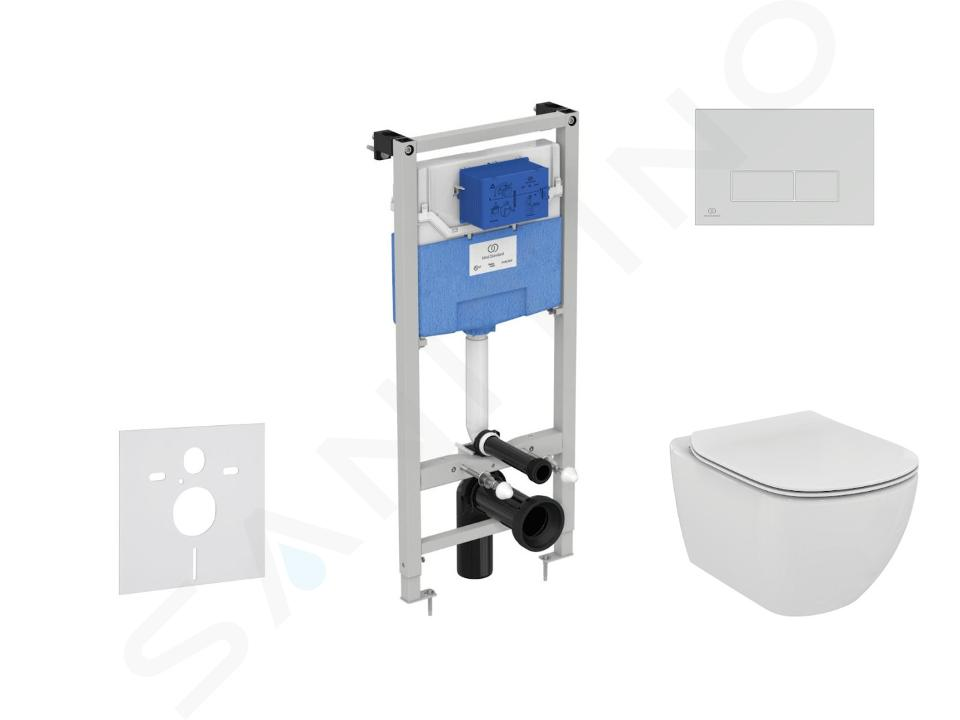 Ideal Standard ProSys - Ensemble pour WC suspendu, cuvette et abattant Tesi, Plaque de déclenchement Oleas M2, Rimless, SoftClose, blanc ProSys120M SP7